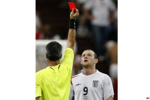 Rooney is shown a straight red in the World Cup quater final against Portugal in 2006