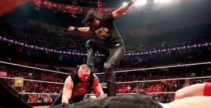Seth Rollins delivering a curb stomp to Lesnar in the build up to the Royal Rumble