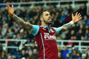 Danny Ings celebrating one of his 38 goals while at Burnley