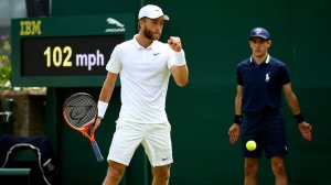 Liam Broady celebrates a winning point against Marinko Matosevic