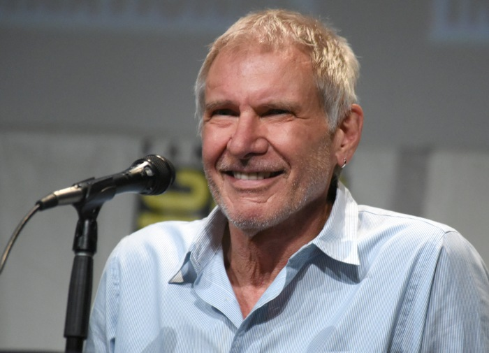 Harrison Ford attends the Star Wars: The Force Awakens panel at Comic-Con International. (AP)