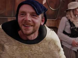 Simon Pegg in costume on the set of Star Wars: The Force Awakens