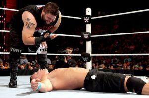 Kevin Owens taunting John Cena at elimination chamber